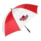 62 Inch Red/White Vented Umbrella-Red Wolves Stacked Head Centered