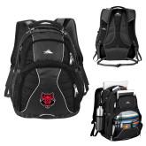 High Sierra Swerve Black Compu Backpack-Red Wolf Head
