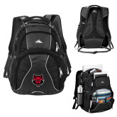 High Sierra Swerve Black Compu Backpack-Red Wolf Head