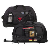 Urban Passage Wheeled Black Duffel-Red Wolf Head