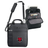 Kenneth Cole Black Vertical Checkpoint Friendly Messenger-Red Wolf Head