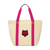 Natural/Tropical Pink Saratoga Tote-Red Wolf Head