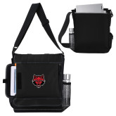 Impact Vertical Black Computer Messenger Bag-Red Wolf Head