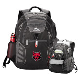 High Sierra Big Wig Black Compu Backpack-Red Wolf Head