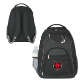 The Ultimate Black Computer Backpack-Red Wolf Head