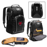 Ogio Bolt Black Backpack-Red Wolf Head