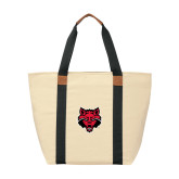 Natural/Black Saratoga Tote-Red Wolf Head