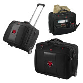 Wenger Transit Wheeled Black Compu Briefcase-Red Wolf Head