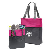 Charcoal/Tropical Pink Colorblock Tote-Red Wolf Head