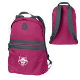 Pink Raspberry Nailhead Backpack-Red Wolf Head