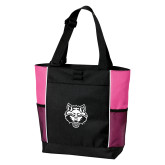 Black/Tropical Pink Panel Tote-Red Wolf Head