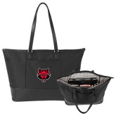 Stella Black Computer Tote-Red Wolf Head