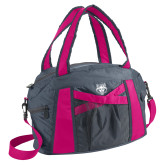 Graphite/Pink Duffel Bag-Red Wolf Head
