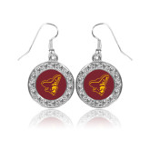 Crystal Studded Round Pendant Silver Dangle Earrings-ASU Pirates
