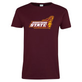 Ladies Maroon T Shirt-Official Logo