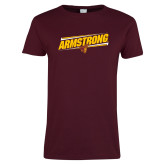 Ladies Maroon T Shirt-Slanted Armstrong w/ Pirate