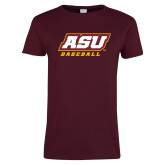 Ladies Maroon T Shirt-Baseball