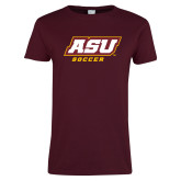 Ladies Maroon T Shirt-Soccer