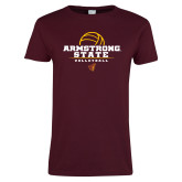 Ladies Maroon T Shirt-Armstrong State Volleyball Stacked w/ Ball
