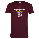 Ladies Maroon T Shirt-Armstrong State Basketball w/ Net