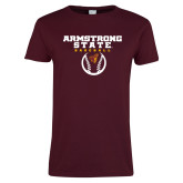 Ladies Maroon T Shirt-Armstrong State Baseball w/ Ball