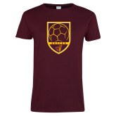 Ladies Maroon T Shirt-Soccer Shield w/ Pirate Head
