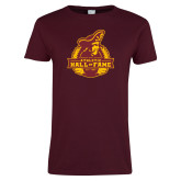 Ladies Maroon T Shirt-Athletic Hall of Fame