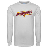 White Long Sleeve T Shirt-Slanted Armstrong w/ Pirate