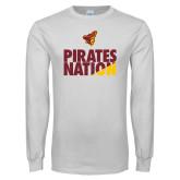 White Long Sleeve T Shirt-Pirates Nation