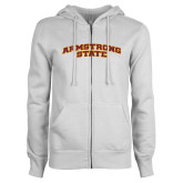 ENZA Ladies White Fleece Full Zip Hoodie-Arched Armstrong State