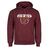 Maroon Fleece Hoodie-Armstrong State Pirates Volleyball w/ Ball