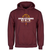 Maroon Fleece Hoodie-Armstrong State Volleyball Stacked w/ Ball