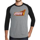 Grey/Black Tri Blend Baseball Raglan-Official Logo