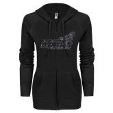 ENZA Ladies Black Light Weight Fleece Full Zip Hoodie-Official Logo Graphite Glitter