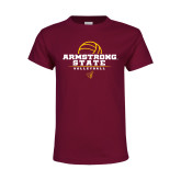 Youth Maroon T Shirt-Armstrong State Volleyball Stacked w/ Ball