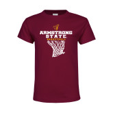 Youth Maroon T Shirt-Armstrong State Basketball w/ Net