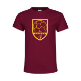 Youth Maroon T Shirt-Soccer Shield w/ Pirate Head