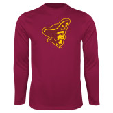 Syntrel Performance Maroon Longsleeve Shirt-Pirate Head