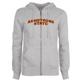 ENZA Ladies Grey Fleece Full Zip Hoodie-Arched Armstrong State