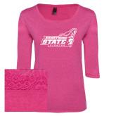Ladies Dark Fuchsia Heather Tri Blend Lace 3/4 Sleeve Tee-Official Logo