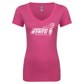Next Level Ladies Junior Fit Ideal V Pink Tee-Official Logo