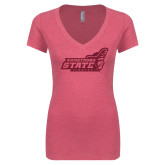 Next Level Ladies Vintage Pink Tri Blend V-Neck Tee-Official Logo Hot Pink Glitter