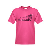 Youth Fuchsia T Shirt-Official Logo Foil