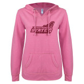 ENZA Ladies Hot Pink V Notch Raw Edge Fleece Hoodie-Official Logo Hot Pink Glitter