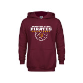Youth Maroon Fleece Hoodie-Armstrong State Pirates Volleyball w/ Ball