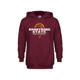 Youth Maroon Fleece Hoodie-Armstrong State Volleyball Stacked w/ Ball