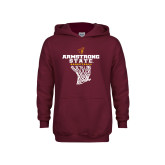 Youth Maroon Fleece Hoodie-Armstrong State Basketball w/ Net