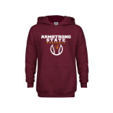 Youth Maroon Fleece Hoodie-Armstrong State Baseball w/ Ball
