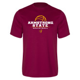 Performance Maroon Tee-Armstrong State Volleyball Stacked w/ Ball