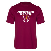 Performance Maroon Tee-Armstrong State Baseball w/ Ball